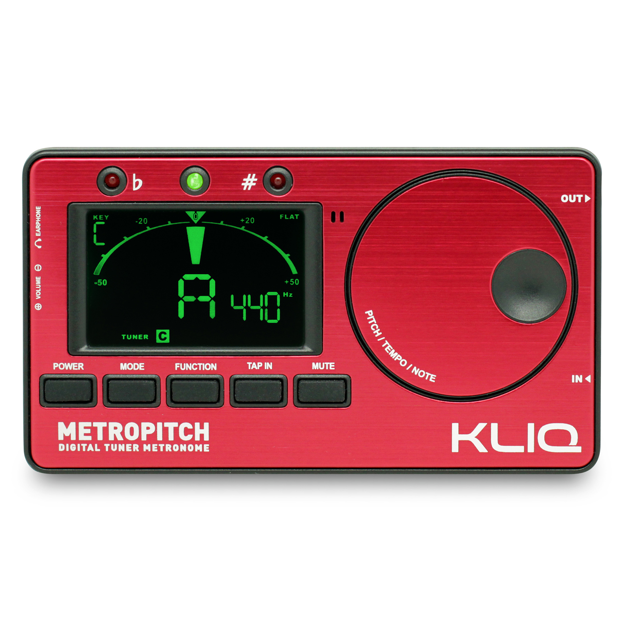 KLIQ MetroPitch Metronome Tuner for All Instruments with Guitar, Bass, Violin, Ukulele and Chromatic Tuning Modes, Red