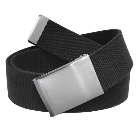 Men's Golf Belt in 1.5 Brushed Silver Flip Top Buckle with Canvas Web Belt Small (Tiger Woods Golf Belt)