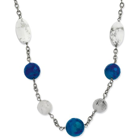 Sterling Silver Drusy Agate - Stainless Steel Blue Jade, Green Agate & Howlite Necklace 26'' inches length