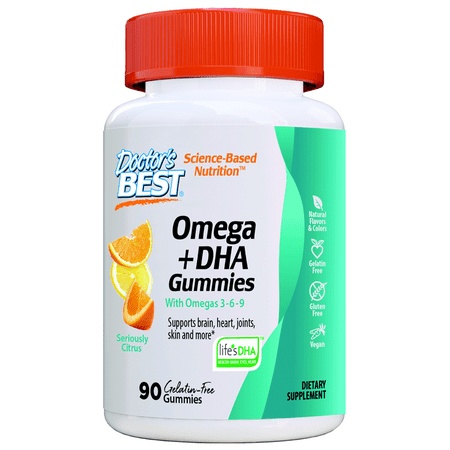 Doctor's Best Omega + DHA with Omegas 3-6-9, 90 Chewable Citrus Flavored Support for Brain, Heart, Joints, Skin and more, Gelatin Free,