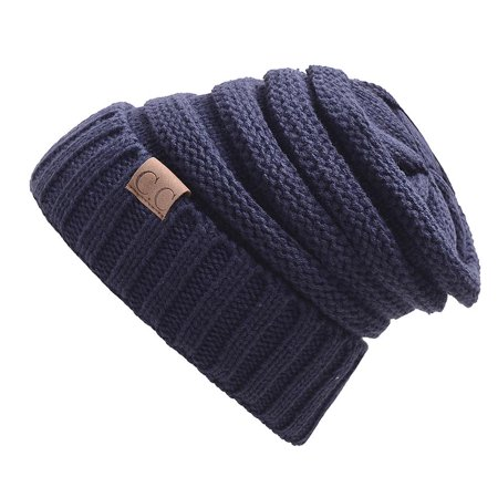 a818fdb6960 Winter Knitted Wool Cap Unisex Folds Casual CC Labeling Hat Hip-Hop  Skullies Beanie