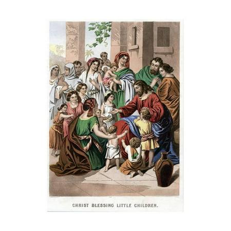 19th Century Print (Christ Blessing Little Children, Mid 19th Century Print Wall Art By Kronheim & Co)