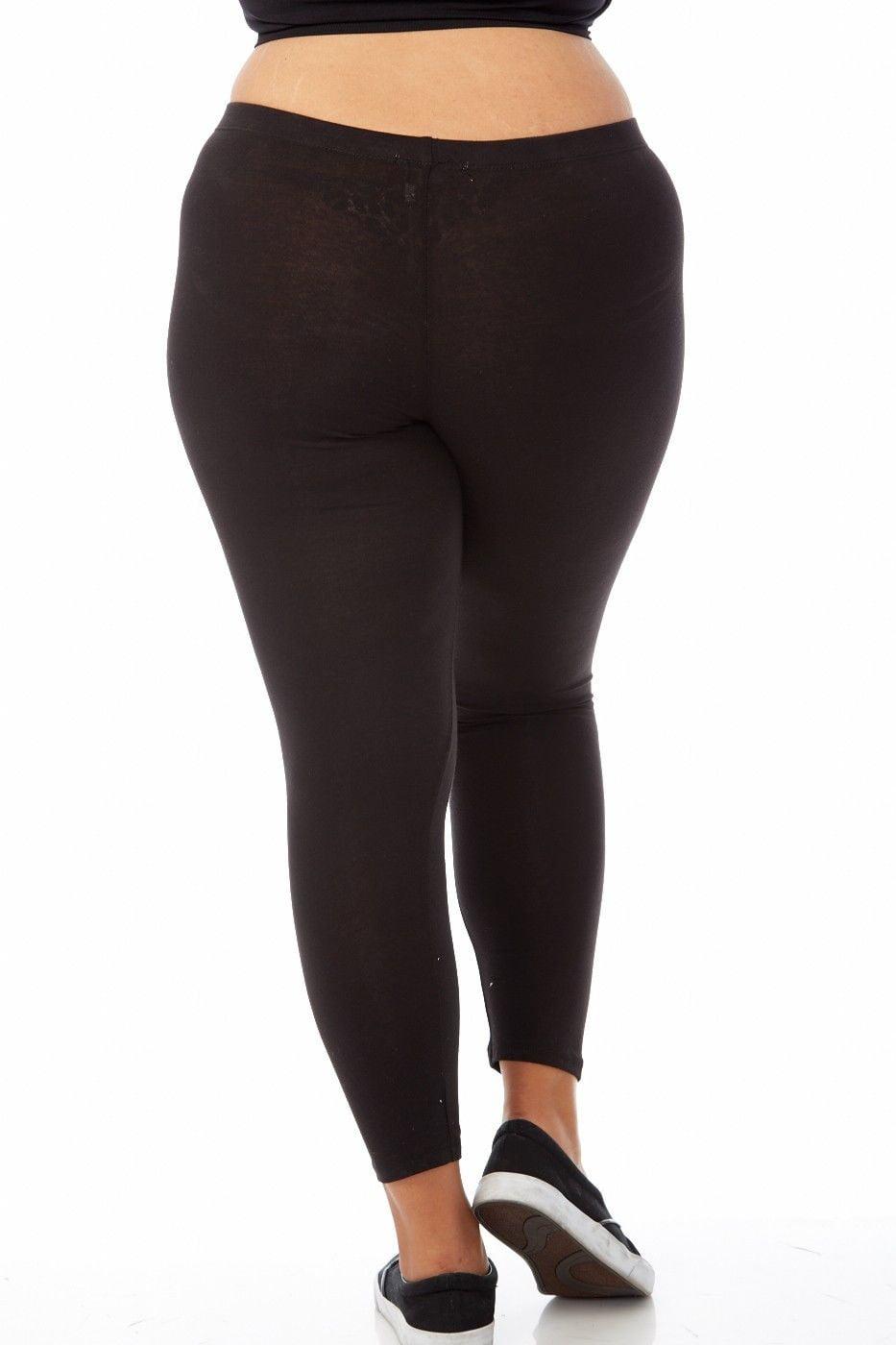 c8dca1ac81c Bozzolo - Womens Plus Size Comfy Basic Cotton Blend Plain Color Long  Leggings XB4003-XL-Black - Walmart.com