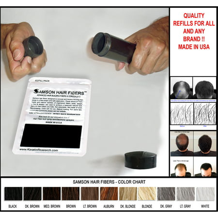Hair Building Fibers DARK GRAY Refill kit By Samson Large 25 Grams Made in USA Hair Loss Concealer Fibers (Dark Gray)