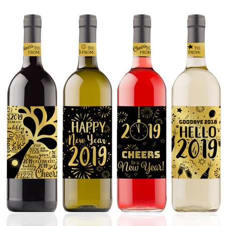 Gold Foil New Years Eve Wine Labels, 4ct - Black and Gold 2019 New Years Eve Party Supplies - 4 Wine Bottle Stickers with Gift Tags
