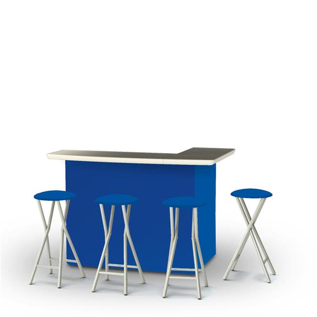 Best of Times 2002W1312 Portable Bar with Matching Bar Stools, Solid Royal Blue