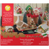 Wilton Build it Yourself Holiday Town Gingerbread House Decorating Kit - Create 8 Mini Gingerbread Houses