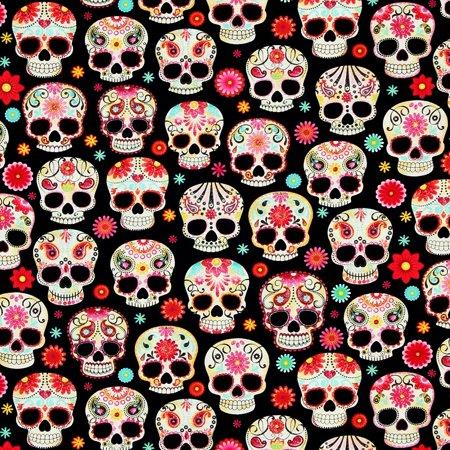Timeless Treasures Fabric Day Of The Dead Sugar Skulls HALF YARD PATT