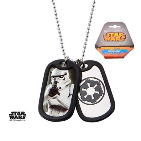 Stainless Steel Storm Trooper with Rubber Silencer Double Dog Tag Pendant Necklace