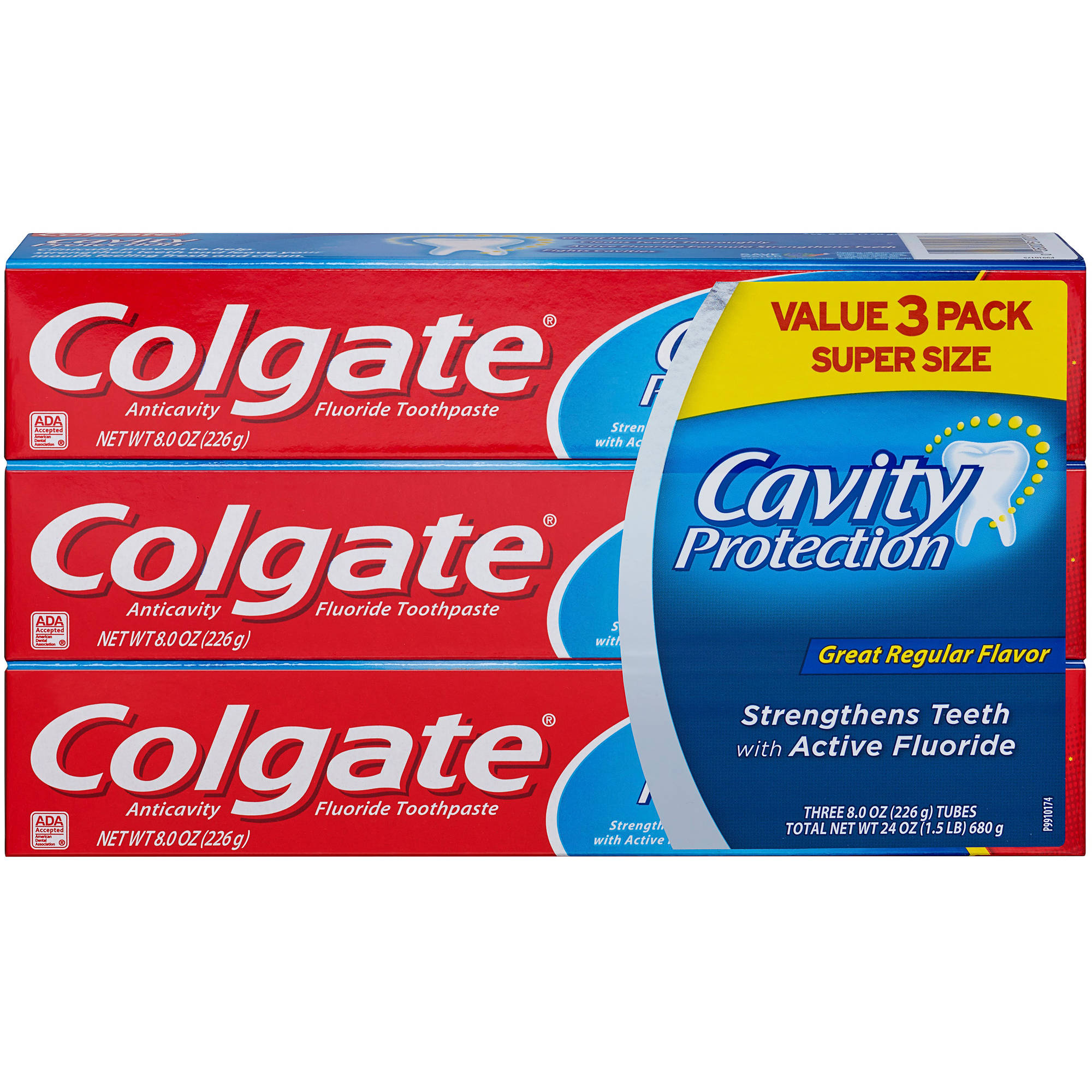 Colgate Cavity Protection Mint Anticavity Fluoride Toothpaste, 3 count, 8 oz