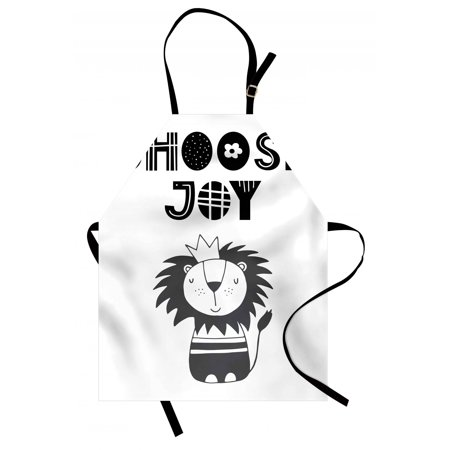 Lion Apron Hand Drawn King of Jungle with an Uplifting Quote Monochrome Illustration, Unisex Kitchen Bib Apron with Adjustable Neck for Cooking Baking Gardening, Black Grey and White, by Ambesonne