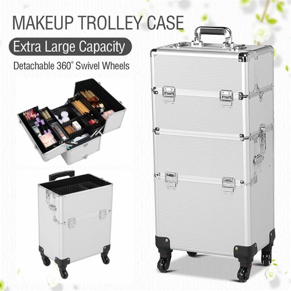 3 in 1 Professional Aluminum Rolling Makeup Trolley Artist Train Case Cosmetic Organizer Makeup Case(4 wheeler accessories) Silver