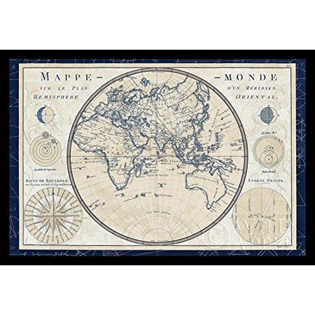 Framed world map plan de meridien by sue schlabach 36x24 vintage framed world map plan de meridien by sue schlabach 36x24 vintage style art print gumiabroncs Image collections