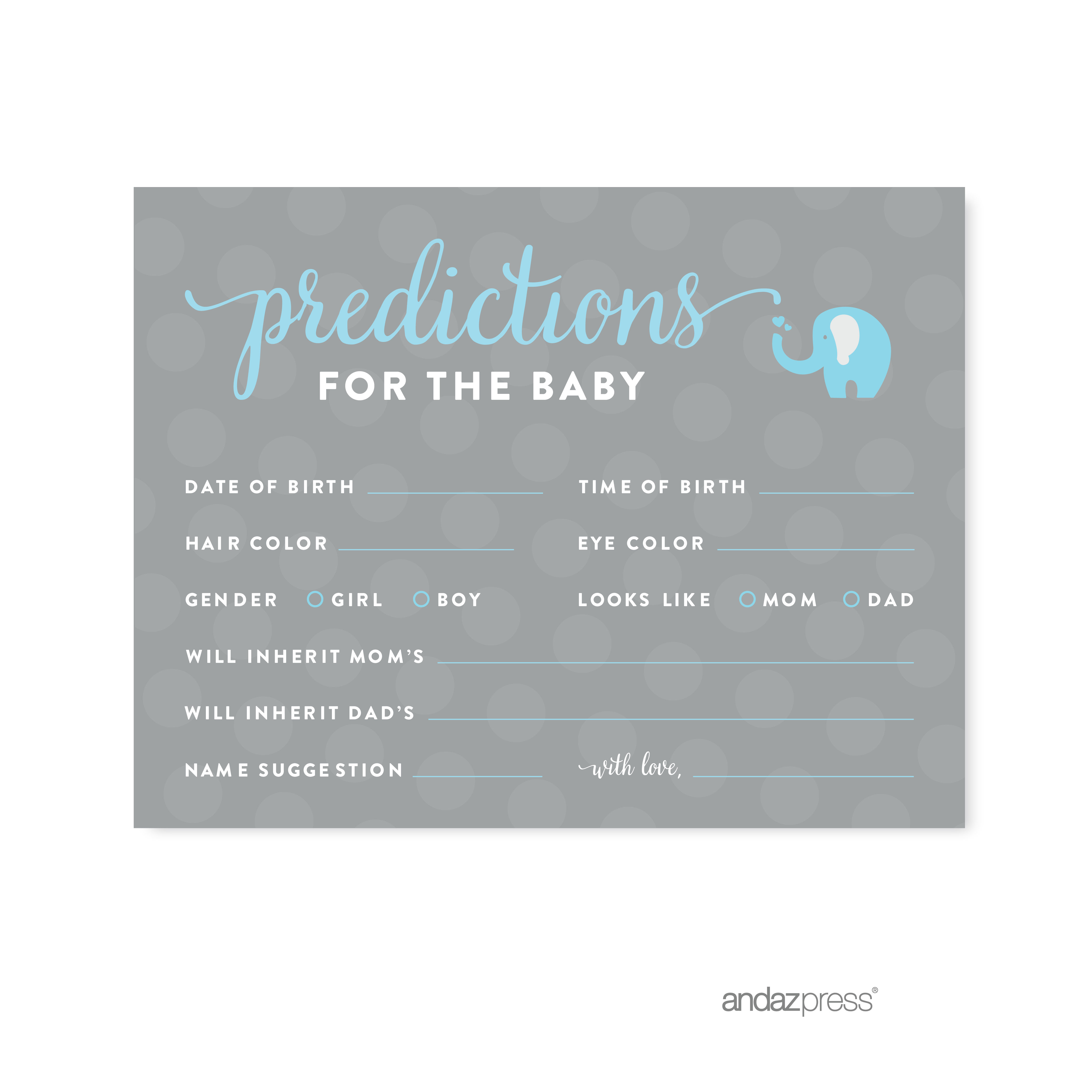 Predictions For Baby Gray Boy Elephant Baby Shower Games , 20-Pack