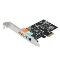 PCI-E Express Expansion Card 5.1 Sound 5 Port Sound Card Stereo Surround Sound Card for Desktop Black