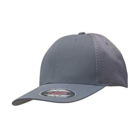 THE HAT PROS FITTED 6533 FLEXFIT HAT TACTEL & MESH CAP (Grey) L/XL - The Hat Pros