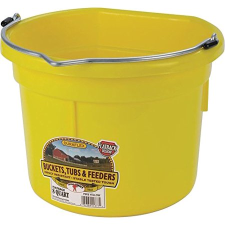 Little Giant Flat-Back Dura-Flex Plastic Bucket, 8-Quart, Yellow, Flat-Back plastic bucket with stacking ribs so pails come apart easier when stacked By Miller