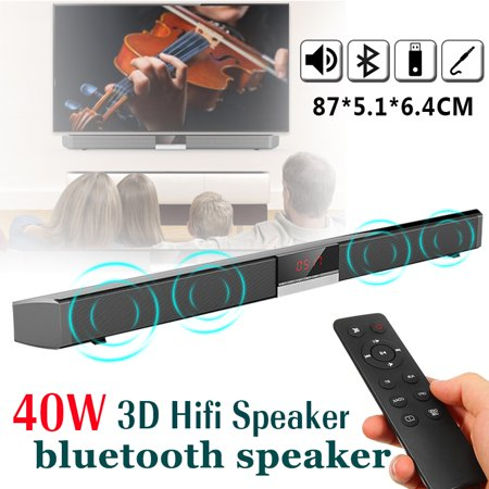 40W 4 Drivers 3D bluetooth HiFi Stereo Soundbar Home Speaker with Remote Controller for PC Laptop Household