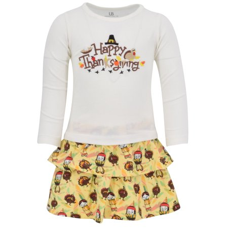 Cute Thanksgiving Outfits For Women (Girls Happy Thanksgiving Layered Skirt and Shirt Fall Outfit)