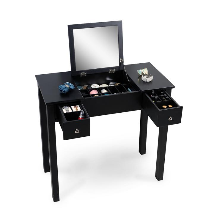 Organizedlife Black Mirror Makeup Desk Vanity Table with Accessories Storage Organize Drawers