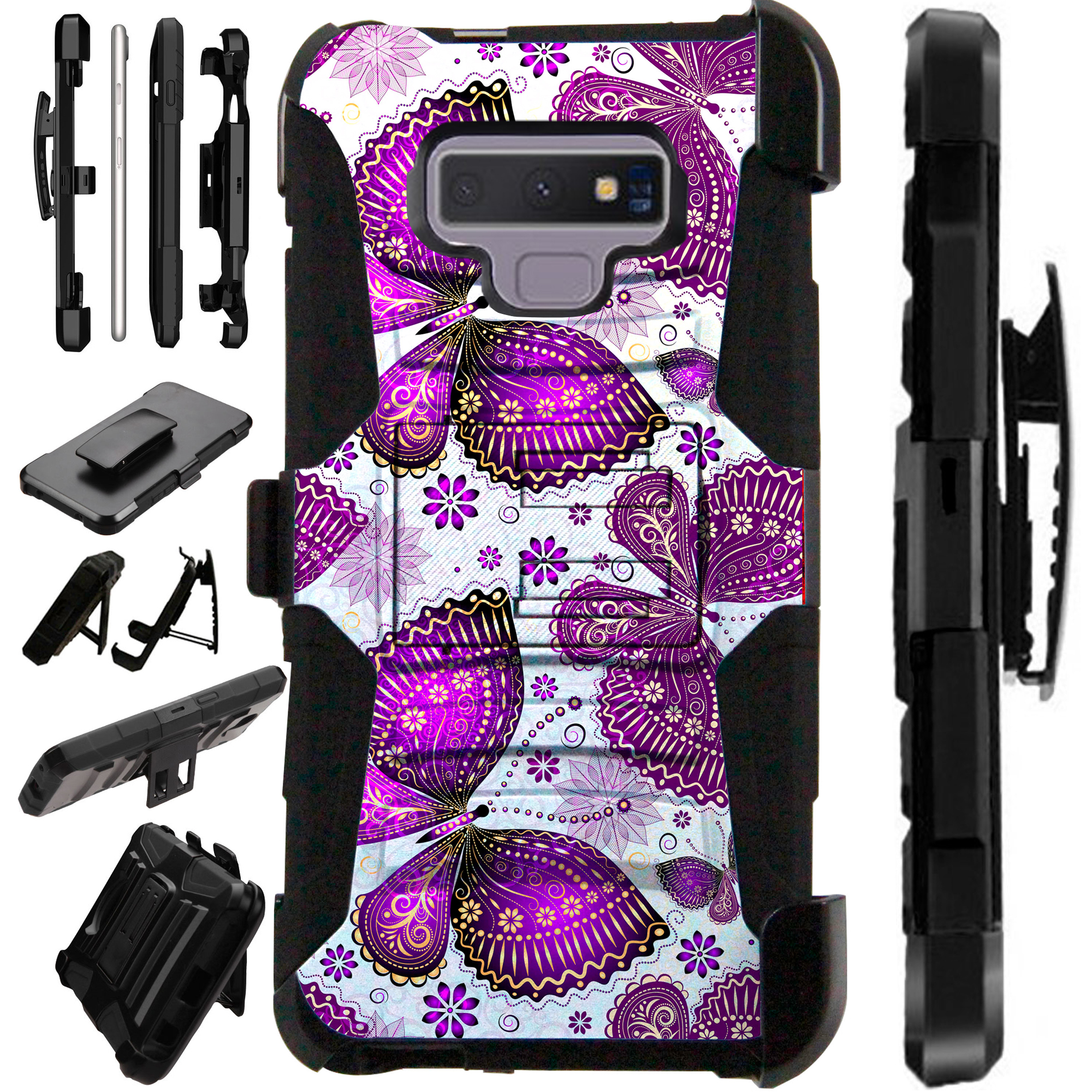 For Samsung Galaxy Note 9 Case Armor Hybrid Silicone Cover Stand LuxGuard Holster (Purple Butterfly)
