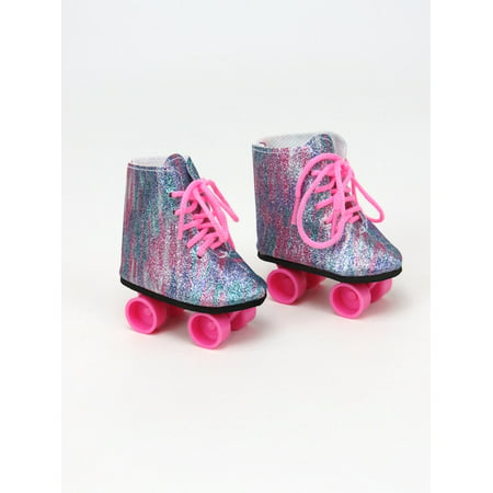 "Rainbow Glitter Roller Skates - Fits 18"" American Girl Dolls, Madame Alexander, Our Generation, etc. - 18 Inch Doll Clothes - Doll Not Included"