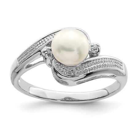 Sterling Silver 2 MM Diamond and FW Cultured Pearl Ring, Size 7 (Diamond Fw Pearl Ring)