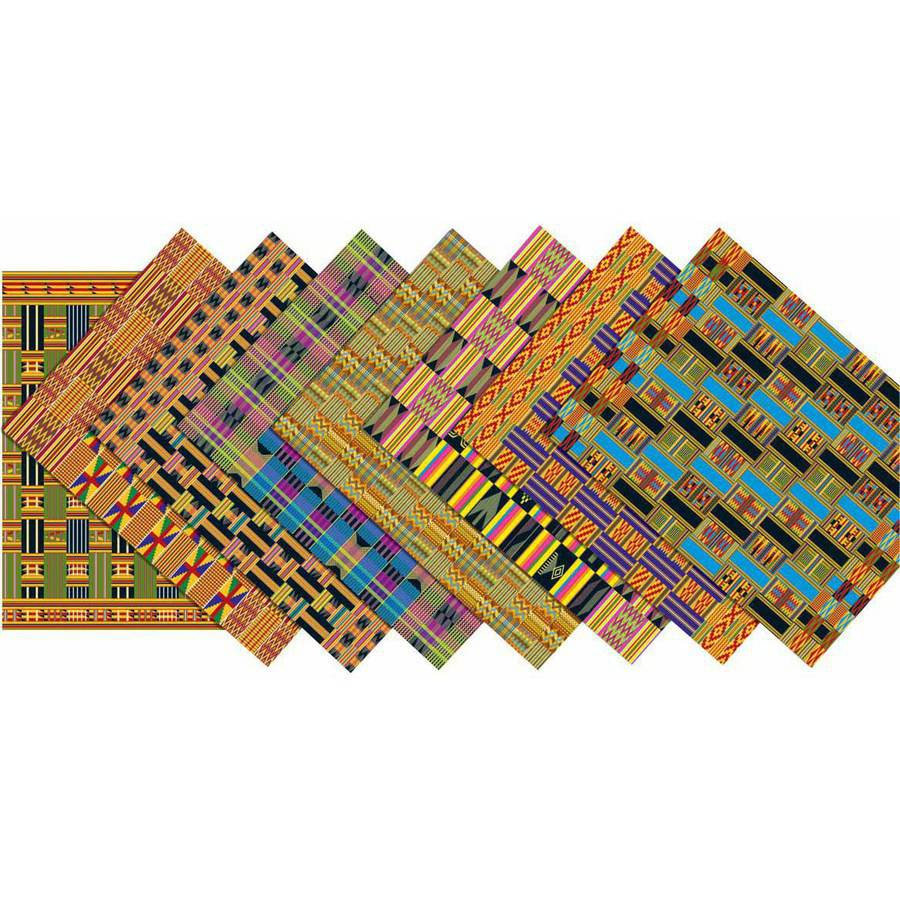 "Roylco Assorted Design African Textile Paper, 8.5"" x 11"", Pack of 32"