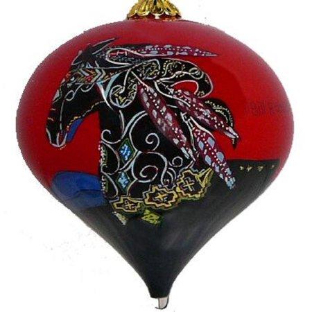 Bill Rabbit Imagine Horse Reverse Painted Glass Christmas Top Ornament Southwest