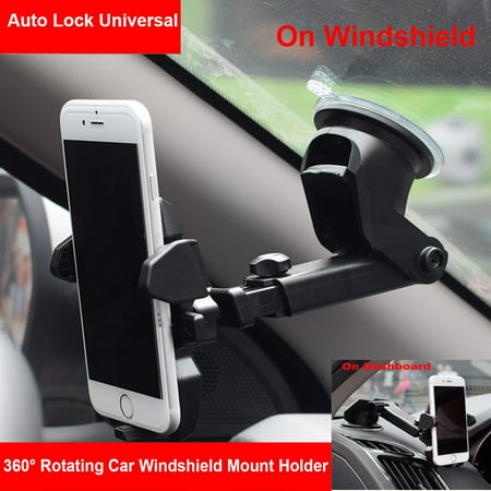 Universal 360? Rotation Car Windshield Dashboard Mount Holder Cradle For Cell Phone GPS iPhone X 7 8 6S Plus,Samsung Galaxy Note 8/S8/S8