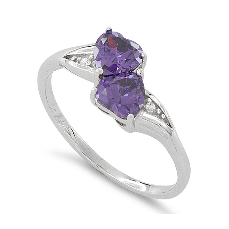 Sterling Silver Simulated Amethyst Double Heart Ring Size 5 by