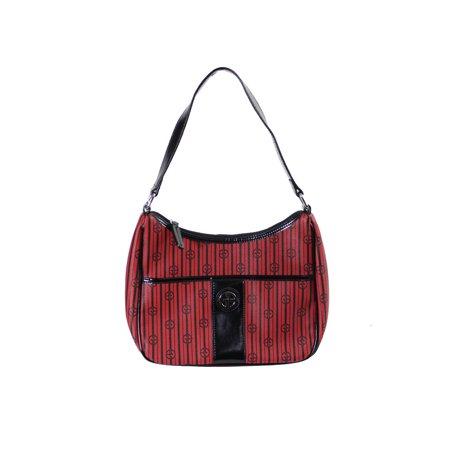 Giani Bernini Red Black Signature Striped Hobo Bag Os