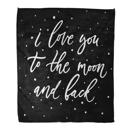 ASHLEIGH Throw Blanket 58x80 Inches I Love You to The Moon and Back Hand Made Script Brush Modern Calligraphy Warm Flannel Soft Blanket for Couch Sofa (Half Moon Run Hands In The Garden)