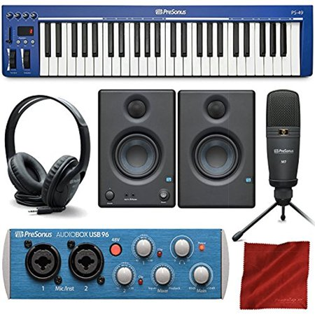 """PreSonus PS49 USB 2.0 MIDI Keyboard with Presonus AudioBox USB 96 Audio Recording Interface, Studio One Artist 3 DAW Software for Mac & Windows, and Premium Music Creation Bundle"""