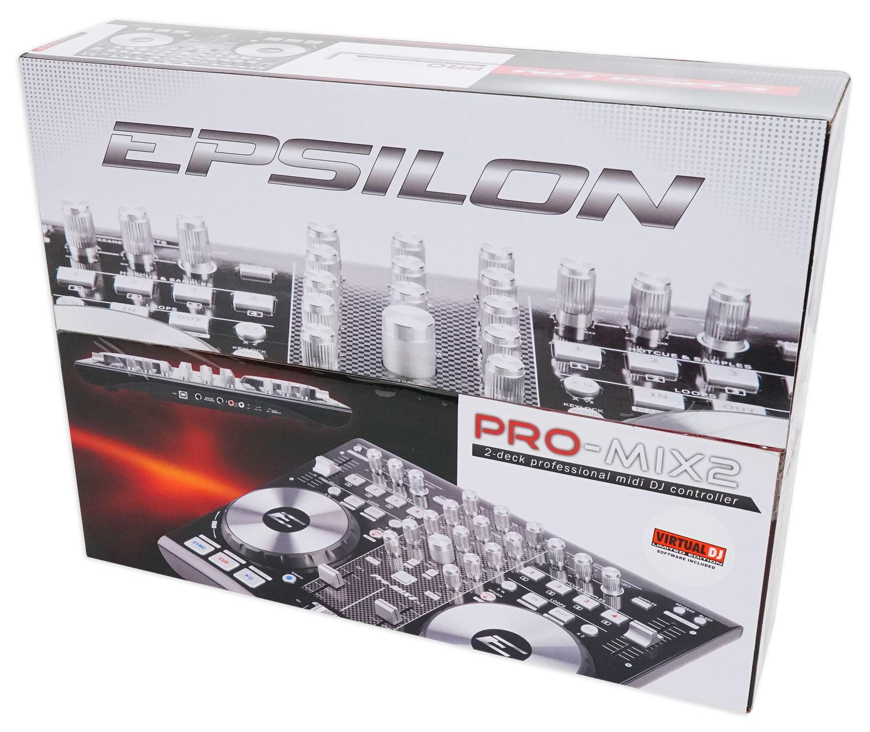 EPSILON PRO-MIX2 MIDI USB DJ Controller+Virtual DJ Software w/Soundcard +  Stand