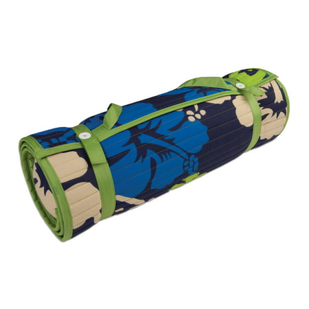 Outdoor Living Blue/ Green Floral Rolled Beach Mat - Bamboo Beach Mat