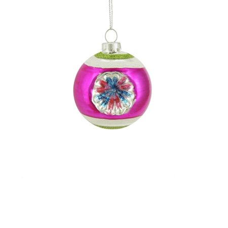 Fuchsia, Green and Silver Glittered Witches Eye Glass Ball Ornament 2.75