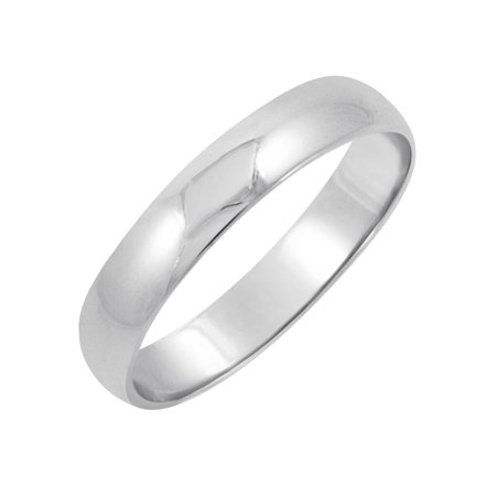 Oxford Ivy Men's 10K White Gold 4mm Classic Fit Plain Wedding Band (Available Ring Sizes 7-12 - 4mm Marquise Ring Setting