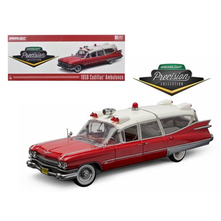 (1959 Cadillac Ambulance Red and White Precision Collection 1/18 Diecast Model Car  by Greenlight)