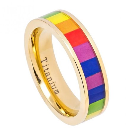 6mm Yellow Gold IP Plated Pipe Cut Titanium with Rainbow Colored Gay Pride Inlay Wedding Band Ring For Men Or Ladies