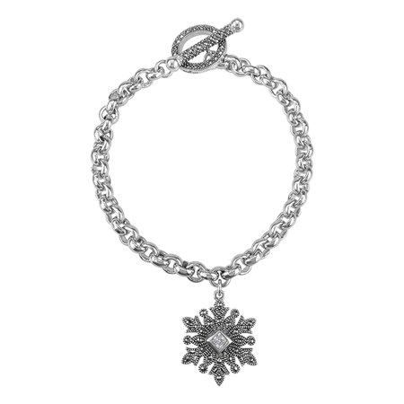 """MARC Sterling Silver & Swarovski Marcasite & W-CZ Snow Flake Charm Toggle Bracelet 7.5"""""""