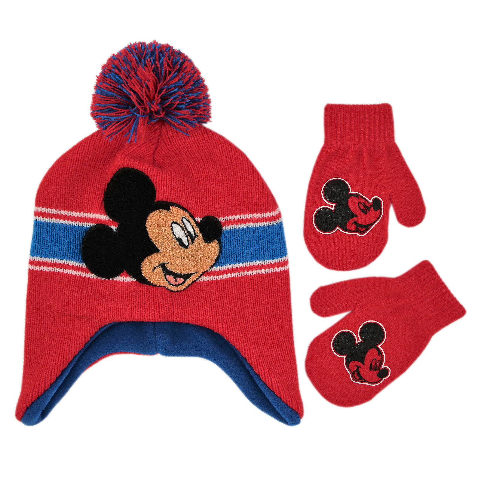 Age 2-4 Disney Boys Toddler Mickey Mouse Clubhouse Hat and Mittens Cold Weather Set red//black