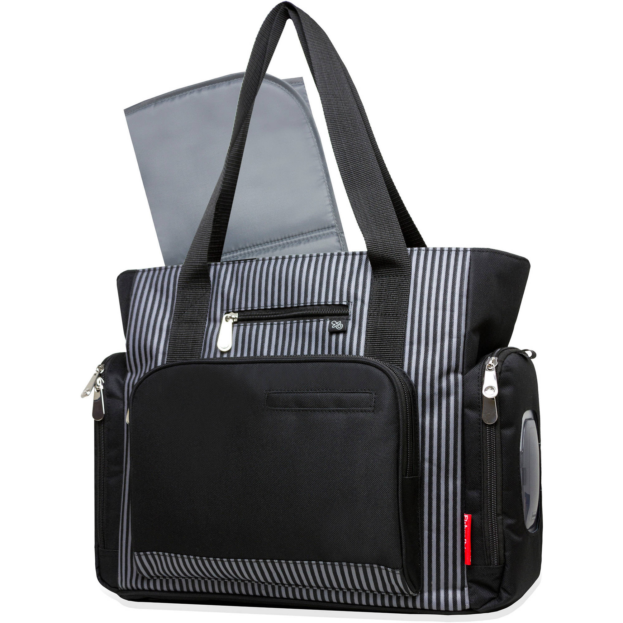 Fisher-Price Black Stripe Tote with Fastfinder Pocket System