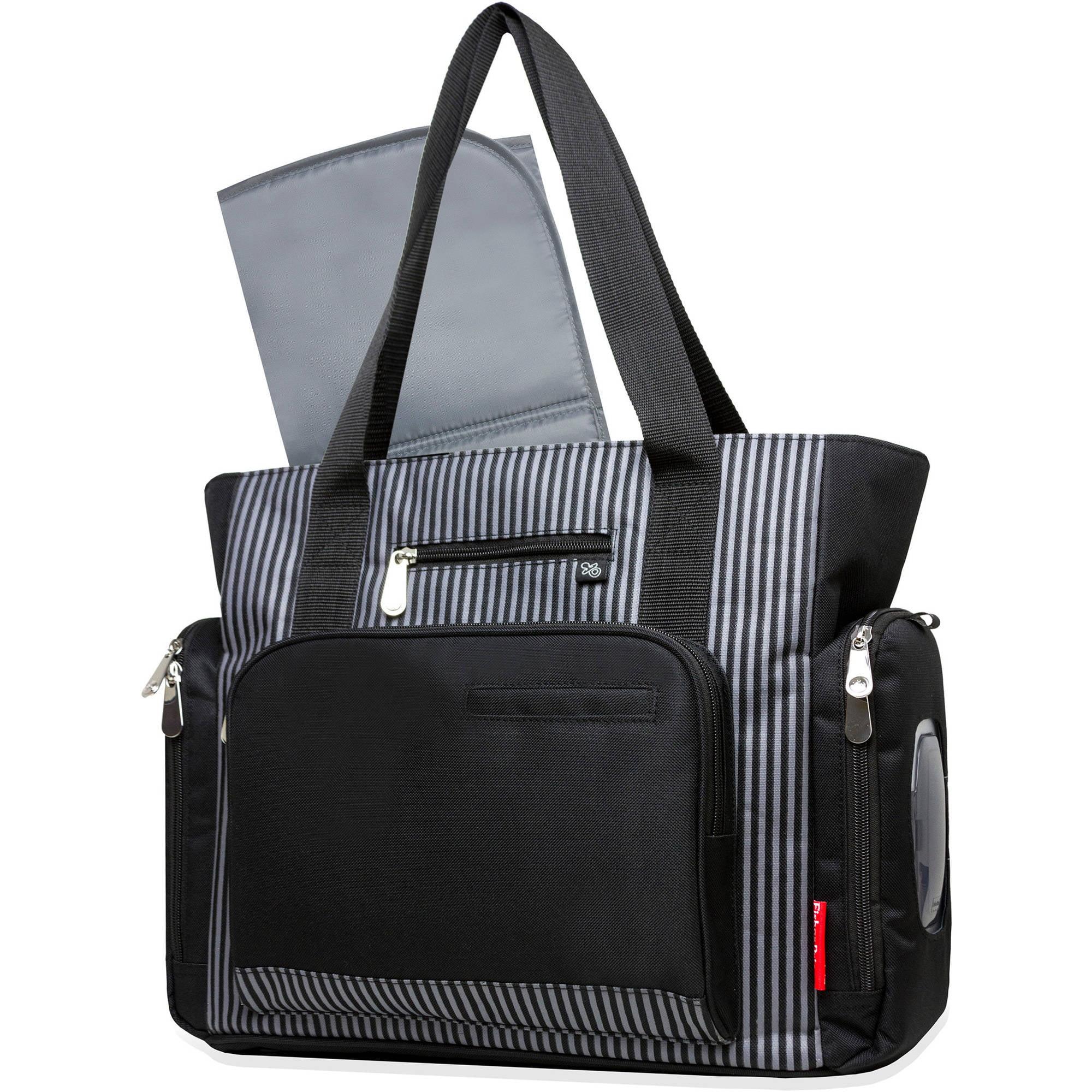 Fisher-Price Black Stripe Tote with Fastfinder Pocket System