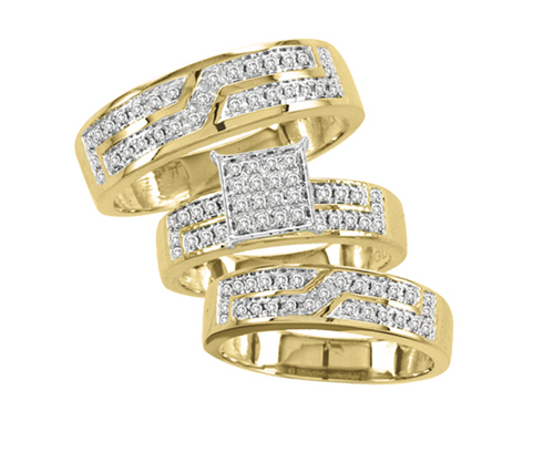 10K Yellow Gold 0.5cttw Designer Diamond His and Hers Trio Wedding Set by Jewelrypot