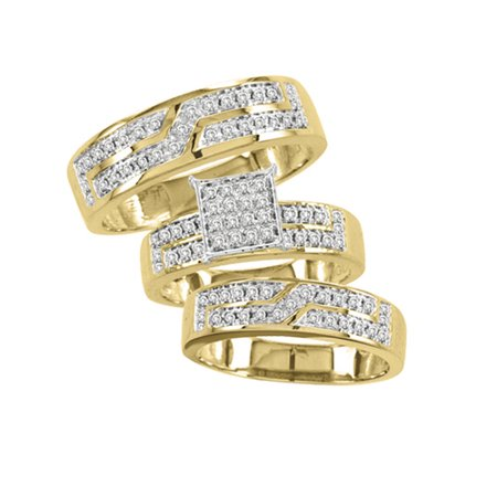10K Yellow Gold 0.5cttw Designer Diamond His and Hers Trio Wedding Set by