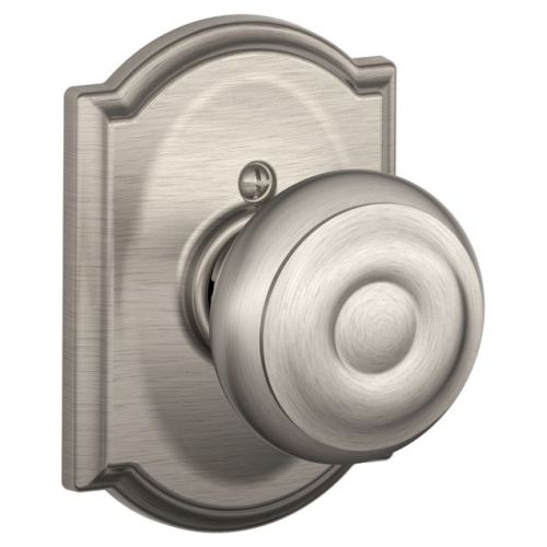 Schlage F170-GEO-CAM Single Dummy Georgian Door Knob with the Decorative Camelot Rose