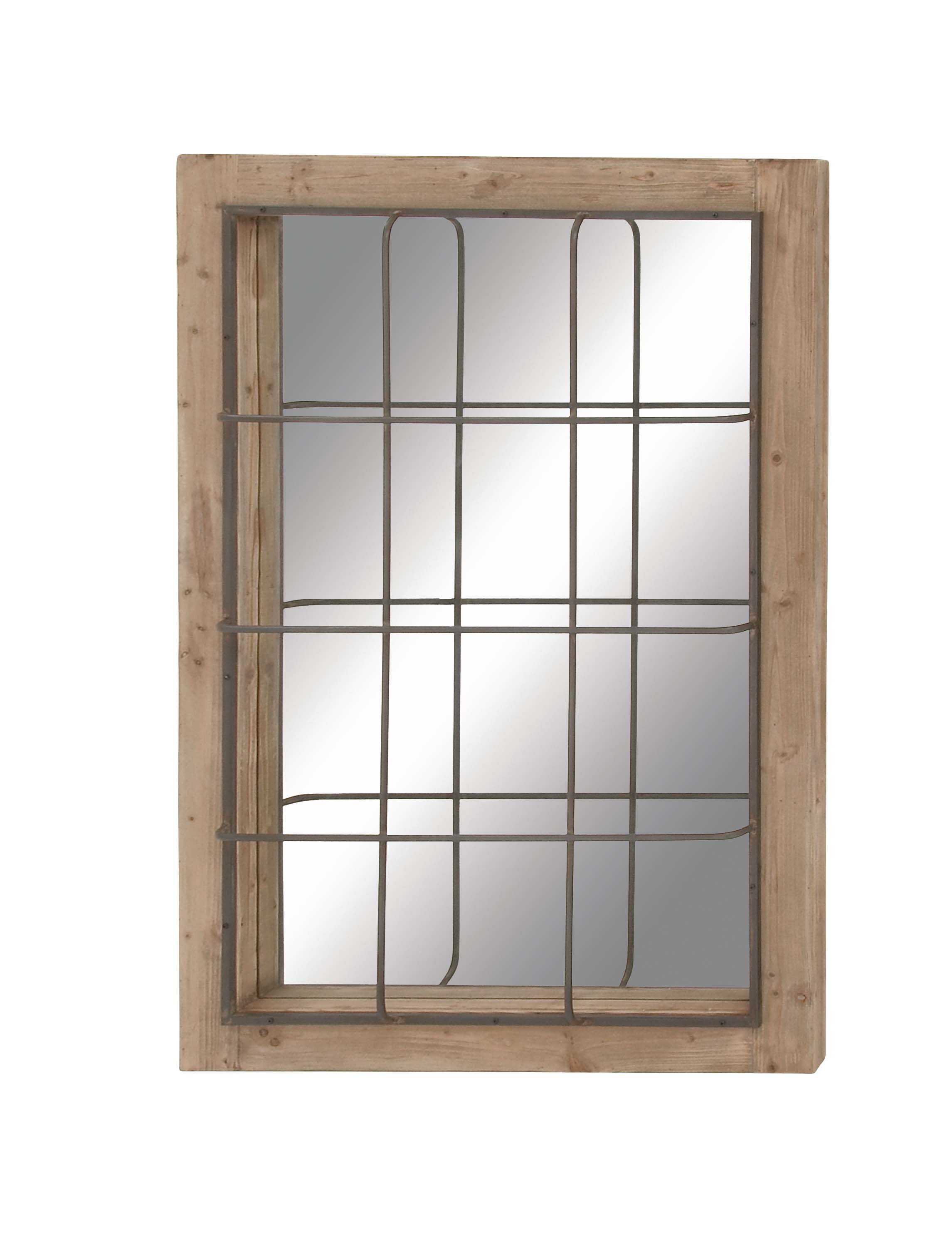 Decmode Farmhouse 52 X 36 Inch Rectangular Wooden Framed Wall Mirror With Metal Grid Overlay Brown
