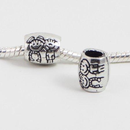 3 Beads - Cute Kids Couple Love Silver European Bead Charm E0095