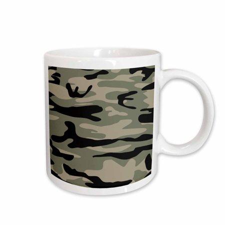 Dark Brown Ceramic (3dRose Khaki army print - brown beige olive green camo - soldier military camouflage texture, Ceramic Mug,)